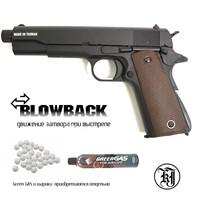 Страйк. пистолет KJW Colt M1911A1 TBC Gas, удлин. ствол к.6мм
