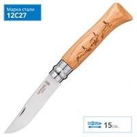 Нож Opinel №8 Animalia, нерж, дуб, заяц